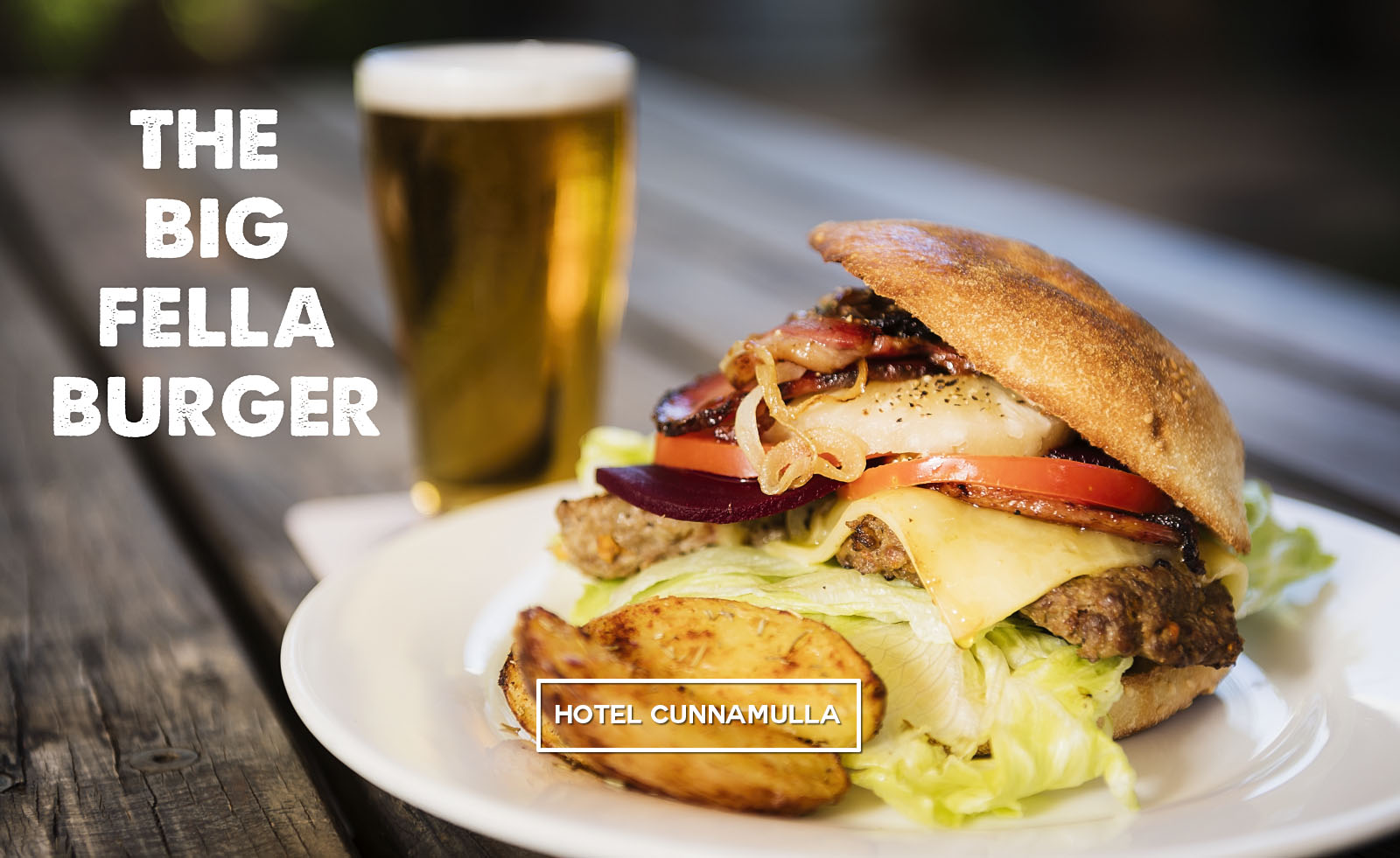 The Big Fella Burger - 100% local beef, bacon, Swiss cheese and all of your favourite salads